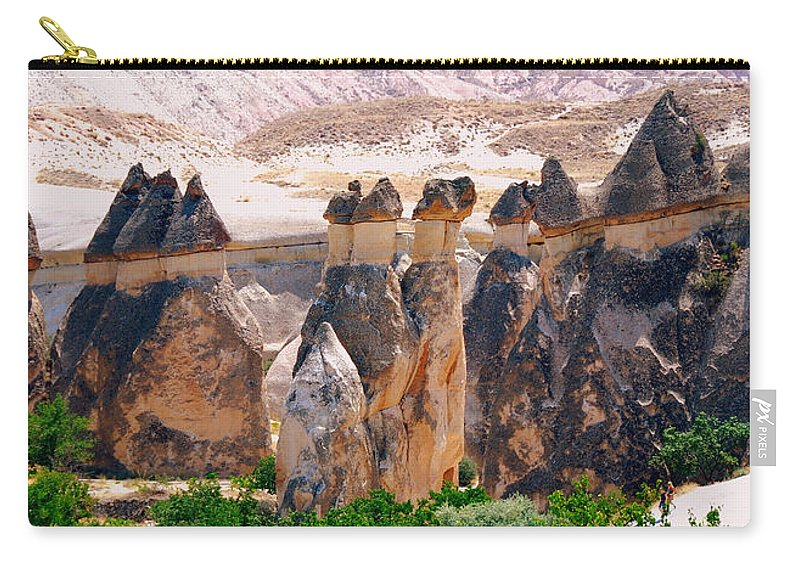 Landscape Carry-all Pouch featuring the photograph Fairy Chimney Panorama by Apurva Madia
