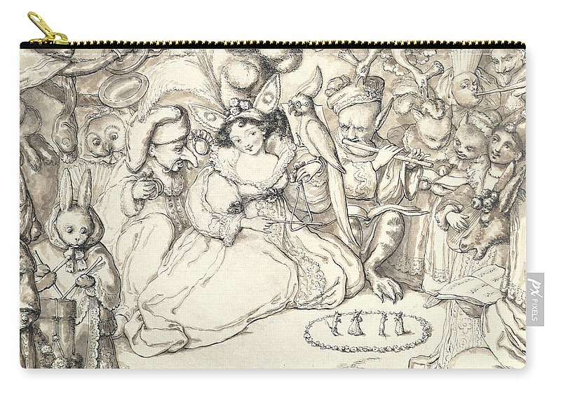 Female Carry-all Pouch featuring the drawing Fairy Concert, C.1830 by Charles Kirkpatrick Sharpe