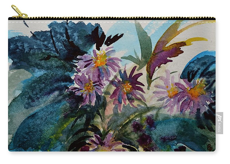 Aster Carry-all Pouch featuring the painting Fairyland Asters by Beverley Harper Tinsley