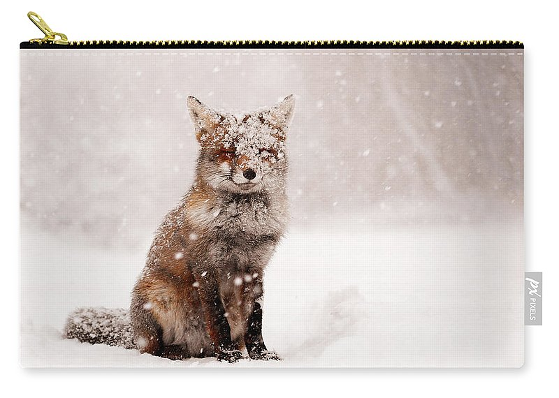 Fox Carry-all Pouch featuring the photograph Fairytale Fox _ Red Fox In A Snow Storm by Roeselien Raimond