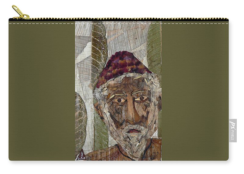 Portrait.holy Person Portrait Carry-all Pouch featuring the mixed media Fakeer by basant Soni