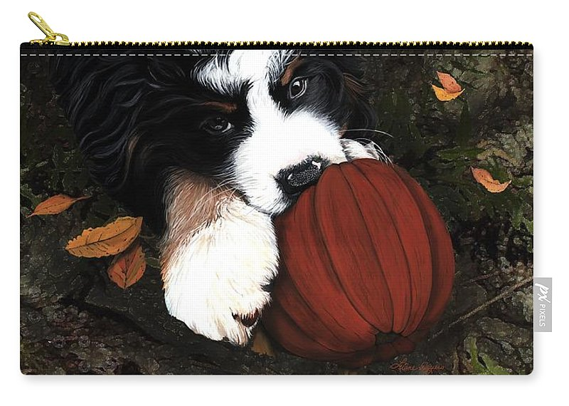 Bernese Mountain Dog Carry-all Pouch featuring the painting Fall 4 U by Liane Weyers