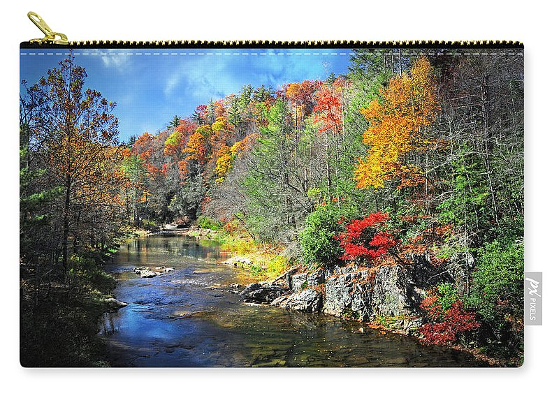 Fall Carry-all Pouch featuring the photograph Fall Along The Linville River by Lynn Bauer