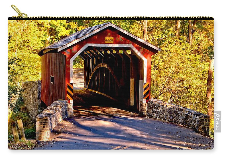 American Carry-all Pouch featuring the photograph Fall At Kurtzs Mill Covered Bridge by Nick Zelinsky