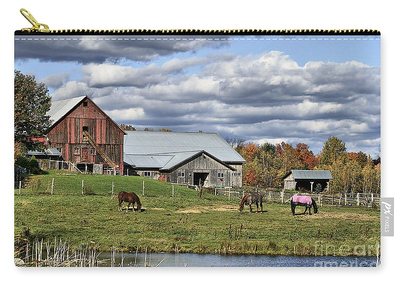 Barn. Horses Carry-all Pouch featuring the photograph Fall At The Horse Farm by Deborah Benoit