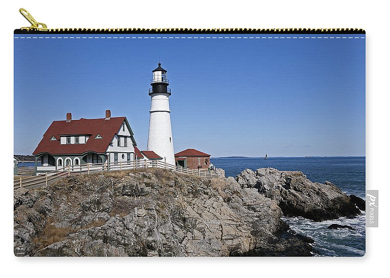 Portland Head Light Carry-all Pouch featuring the photograph Fall At The Lighthouse by Eric Swan
