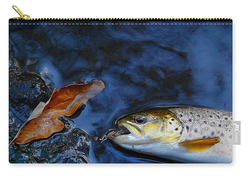 Trout Carry-all Pouch featuring the photograph Fall Brown Trout by Thomas Young