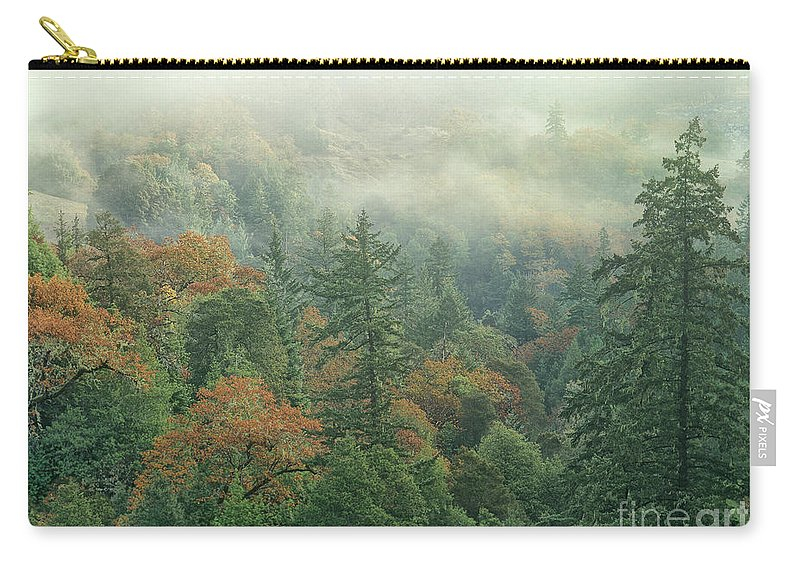 Dave Welling Carry-all Pouch featuring the photograph Fall Color And Fog Near Garberville California by Dave Welling