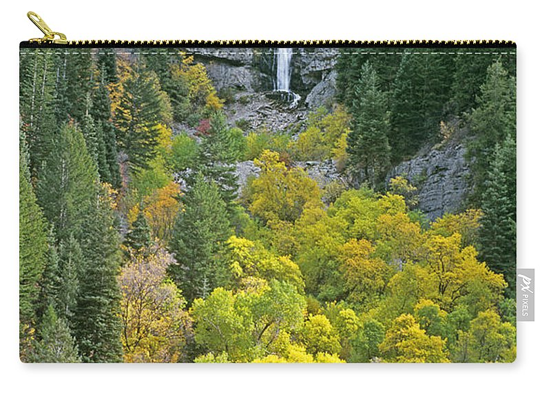North America Carry-all Pouch featuring the photograph Fall Color And Waterfalls In Provo Canyon Utah by Dave Welling