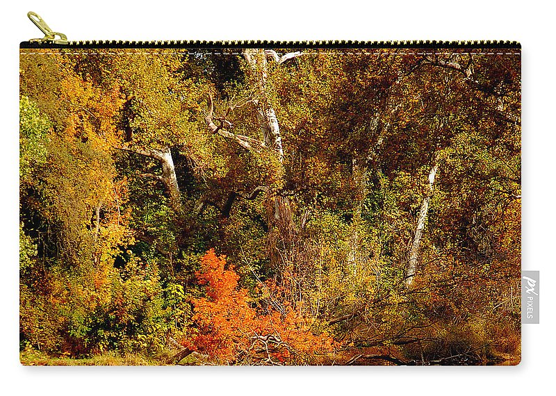 Creekside Fall Color Colors Leaves Trees One Mile Bidwell Park Chico Ca Carry-all Pouch featuring the photograph Fall Color Creekside by Holly Blunkall
