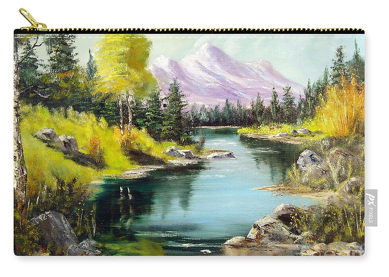 Sky Carry-all Pouch featuring the painting Fall In The Rockies by Lee Piper