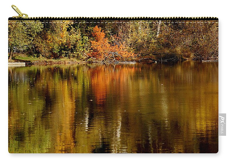 Fall Colors Leaves Water One Mile Park Bidwell Chico Ca Carry-all Pouch featuring the photograph Fall Reflections by Holly Blunkall