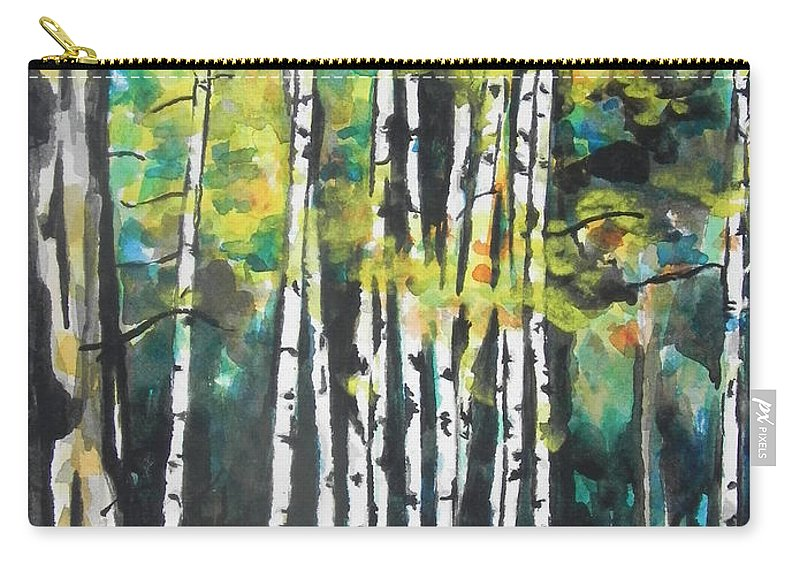 Watercolor Painting Carry-all Pouch featuring the painting Fall To Pieces by Chrisann Ellis