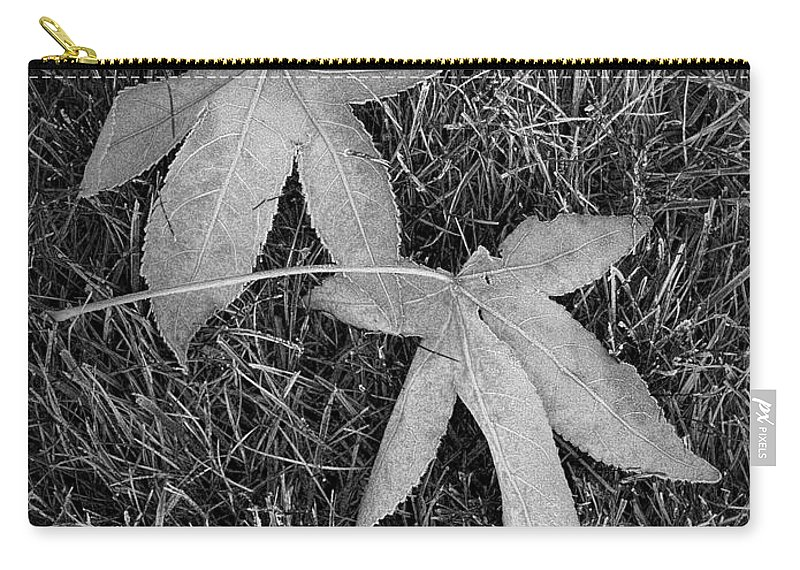 Art Carry-all Pouch featuring the photograph Fallen Autumn Leaves In The Grass During Morning Frost by Randall Nyhof