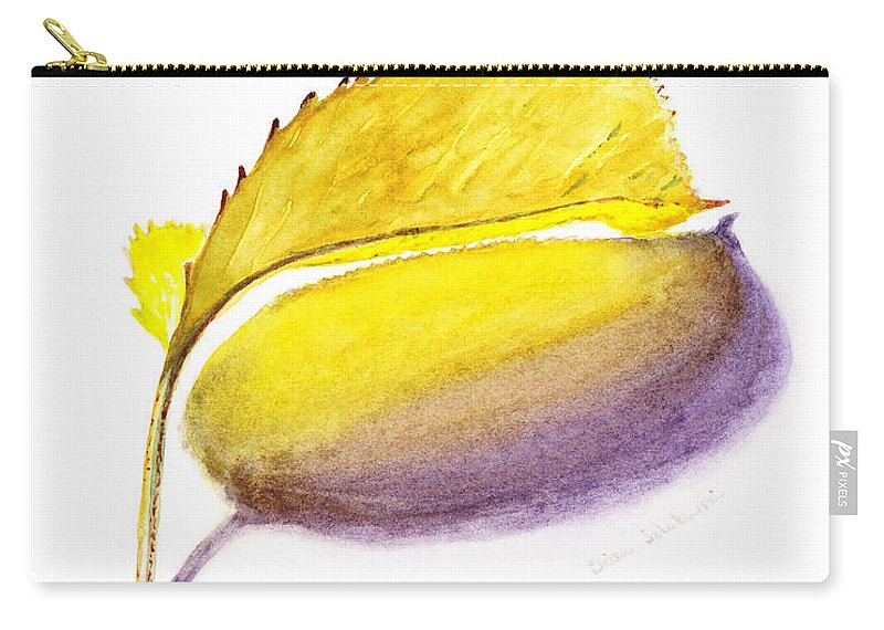 Autumn Carry-all Pouch featuring the painting Fallen Leaf Yellow Shadows by Irina Sztukowski