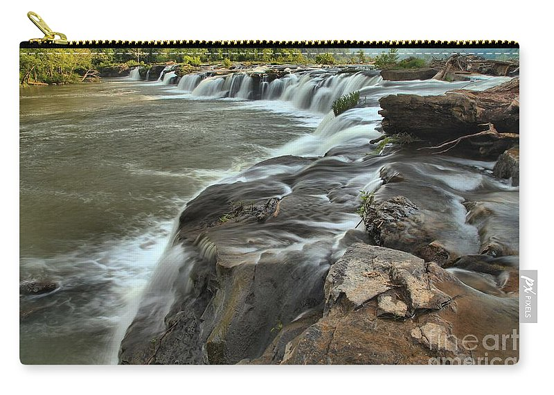 West Virginia Waterfalls Carry-all Pouch featuring the photograph Falling Across The New River by Adam Jewell