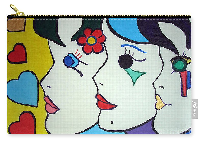 Pop-art Carry-all Pouch featuring the painting Falling In Love by Silvana Abel