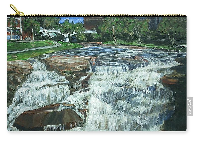 Waterfall Carry-all Pouch featuring the painting Falls River Park by Bryan Bustard