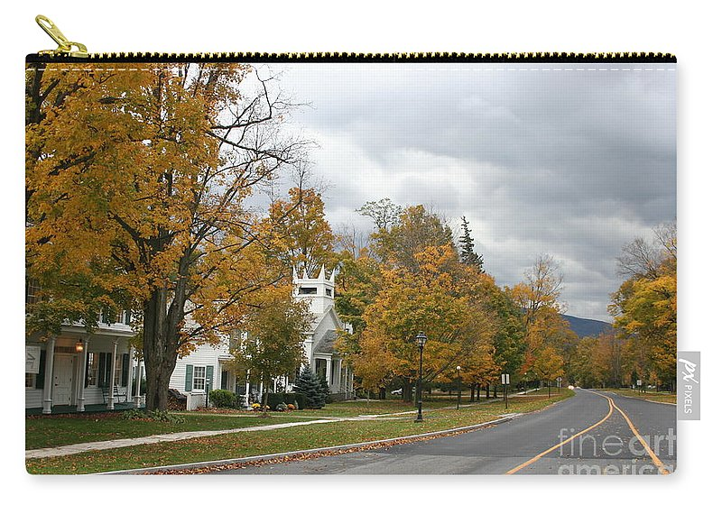 Indian Summer Carry-all Pouch featuring the photograph Autumn Trees At The Roadside by Christiane Schulze Art And Photography