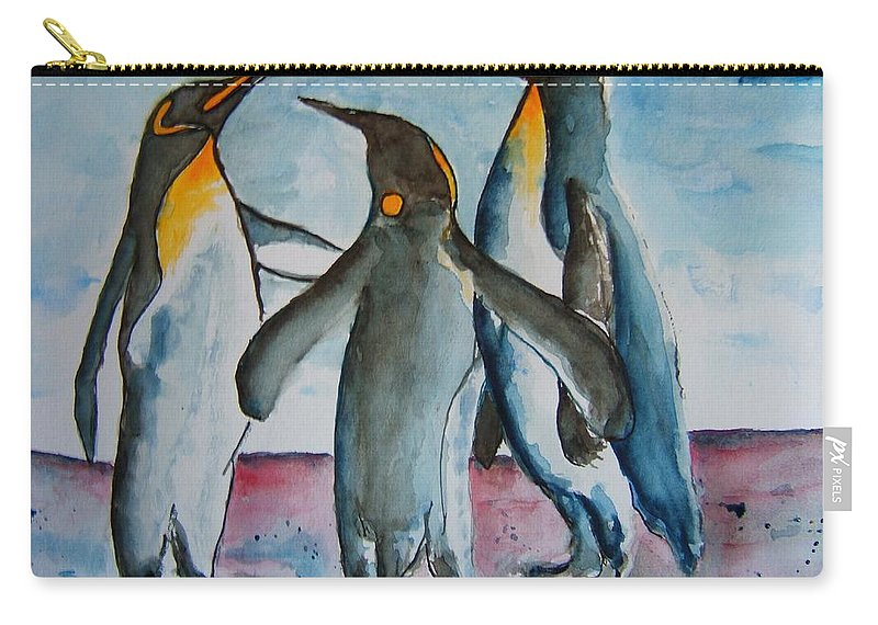 Penguins Carry-all Pouch featuring the painting Family Discussion by Elaine Duras