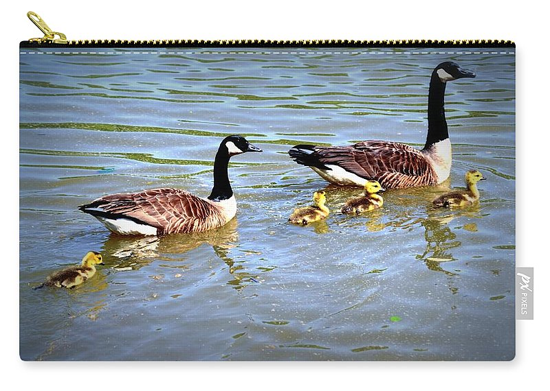 Geese Carry-all Pouch featuring the photograph Family Of Geese Out For A Swim by Tara Potts