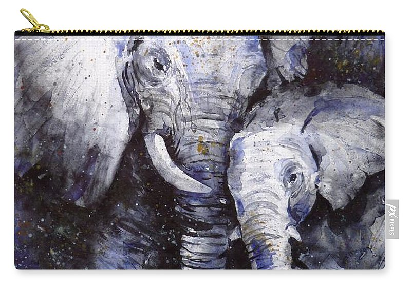 Elephant Carry-all Pouch featuring the painting Family by Zaira Dzhaubaeva