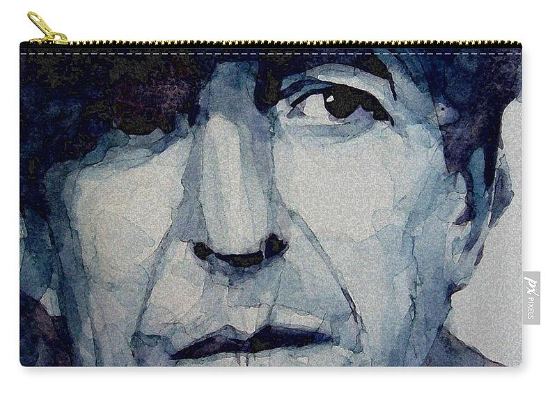 Leonard Cohen Carry-all Pouch featuring the painting Famous Blue raincoat by Paul Lovering