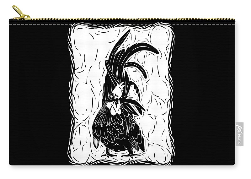 Rooster Carry-all Pouch featuring the digital art Fancy Tail by Alison Stein