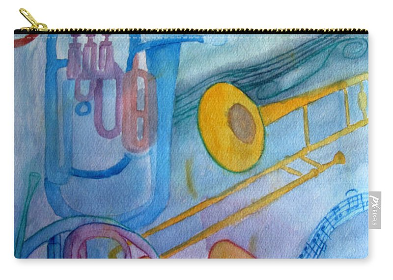 Brass Carry-all Pouch featuring the painting Fanfare by Sandy McIntire