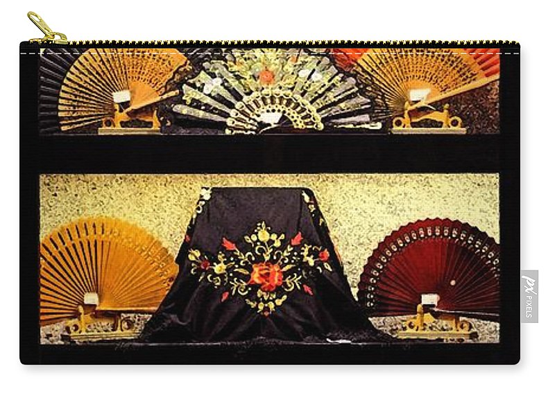 Fans In A Shop Window Carry-all Pouch featuring the photograph Fans In A Shop Window by Mary Machare