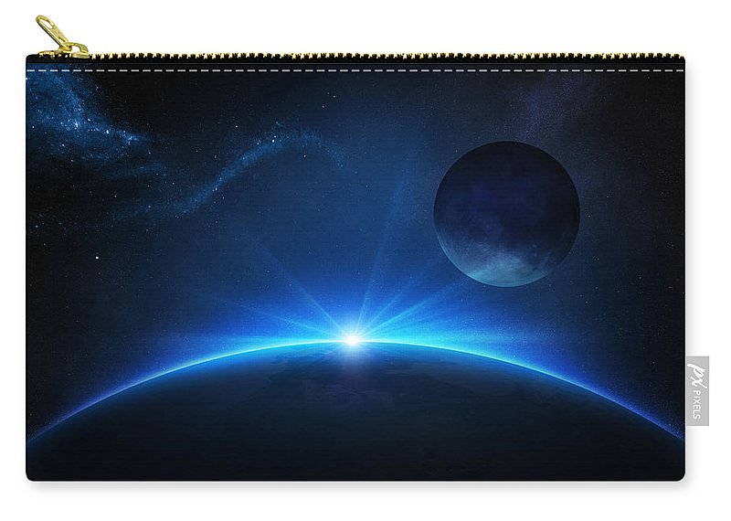 Earth Carry-all Pouch featuring the photograph Fantasy Earth And Moon With Sunrise by Johan Swanepoel