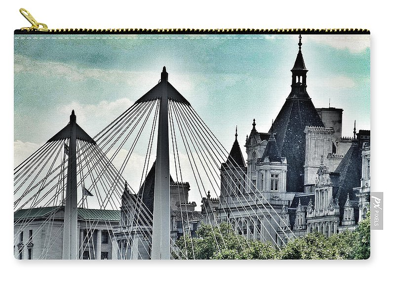 Charing Cross Bridge Carry-all Pouch featuring the photograph Fantasy London . Old Spires New by Connie Handscomb