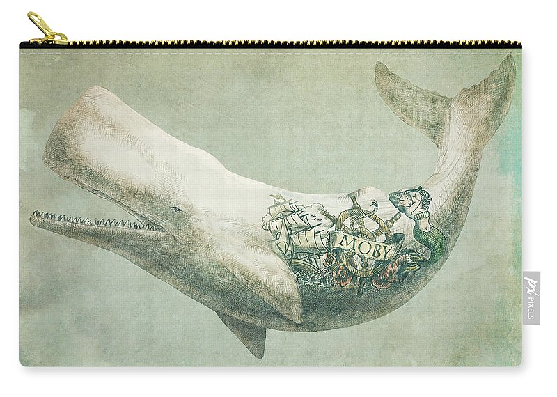 Whale Carry-all Pouch featuring the drawing Far and Wide by Eric Fan