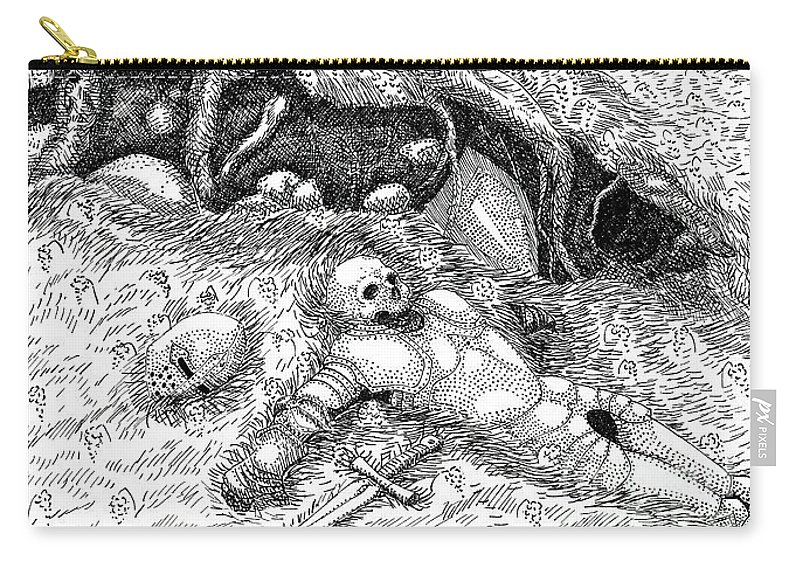 Knight Skeleton Death Badger Ink Monochrome Carry-all Pouch featuring the drawing Farewell Sir Knight by Margaret Schons