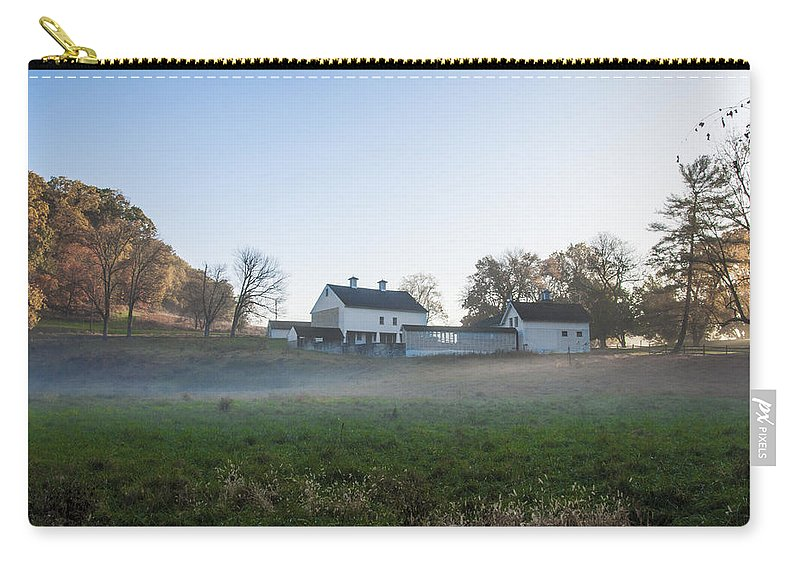 Farm Carry-all Pouch featuring the photograph Farm At Valley Forge In Morning by Bill Cannon
