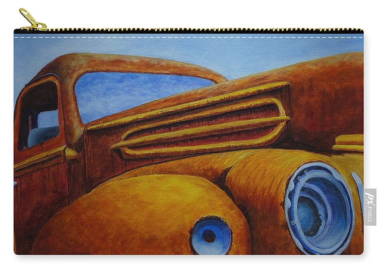 Xochi Hughes Madera Carry-all Pouch featuring the painting Farm Truck by Xochi Hughes Madera