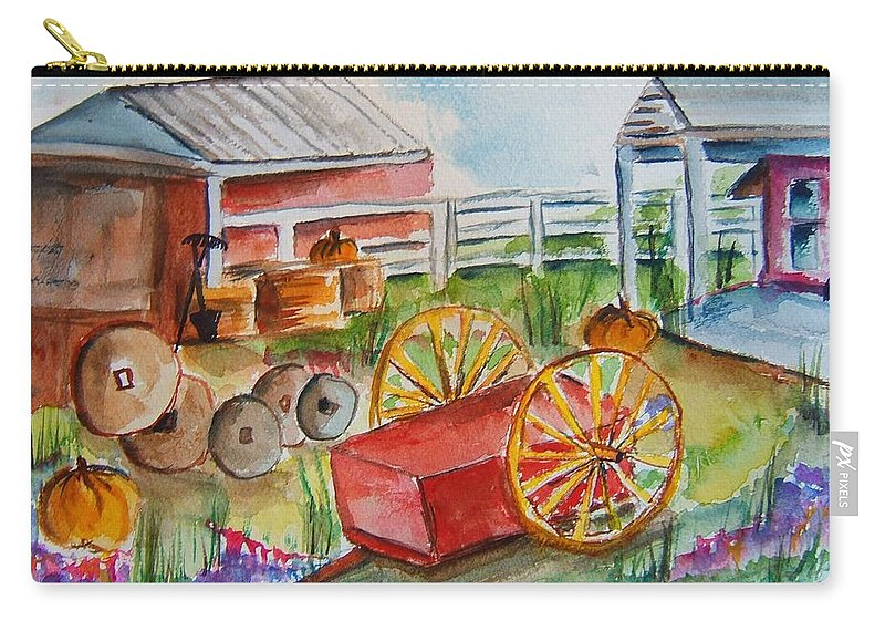 Farm Carry-all Pouch featuring the painting Farmers Backyard by Elaine Duras