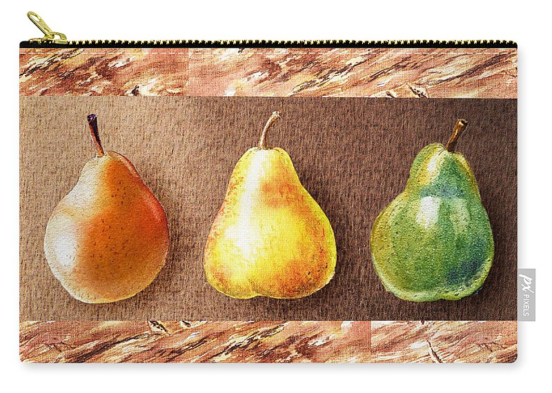 Pear Carry-all Pouch featuring the painting Farmers Market Drive Through Red Yellow And Green Pear by Irina Sztukowski