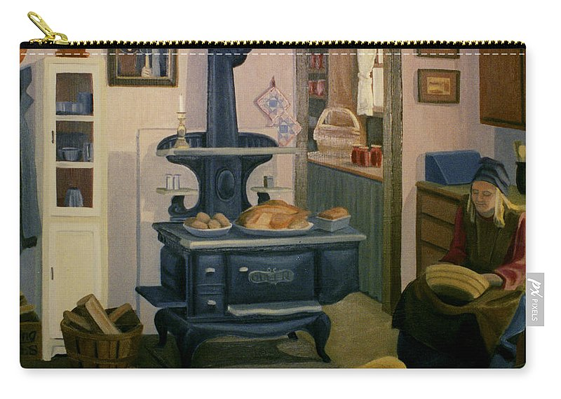 Farm Carry-all Pouch featuring the painting Farmhouse In Autumn 1990 by Nancy Griswold