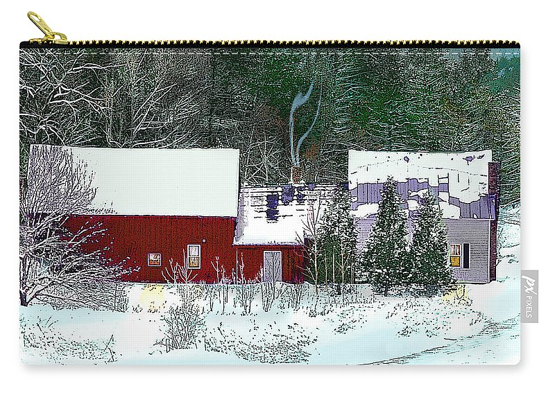 Vermont Carry-all Pouch featuring the digital art Farmhouse In Winter by Nancy Griswold