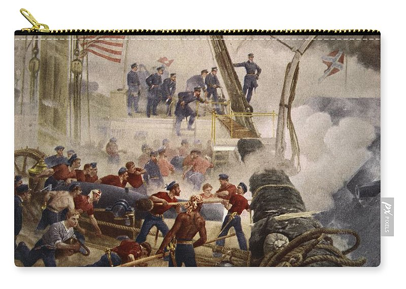 Civil War Carry-all Pouch featuring the painting Farragut On The Hartford At Mobile Bay by Henry Alexander Ogden