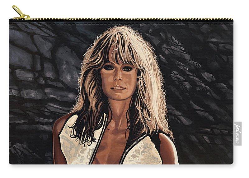 Farrah Fawcett Carry-all Pouch featuring the painting Farrah Fawcett Painting by Paul Meijering