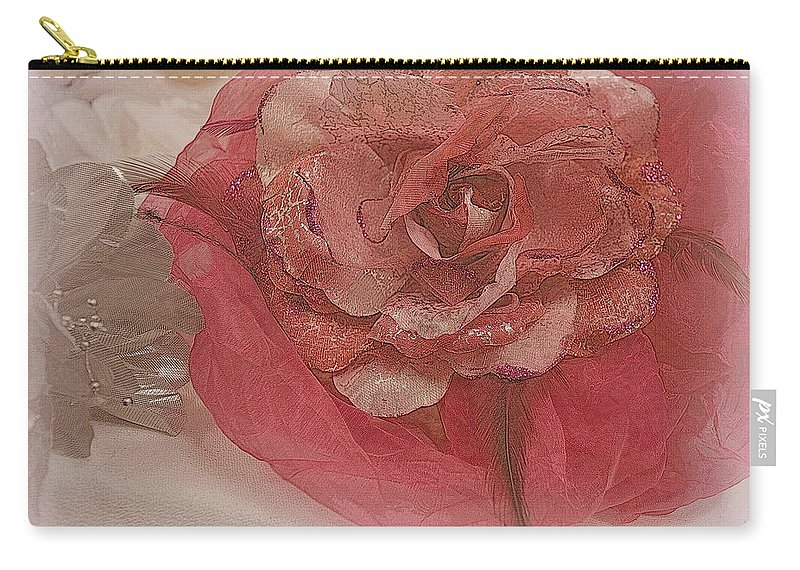 Hat Carry-all Pouch featuring the photograph Fascinator Hats In White And Rose by Kathy Barney