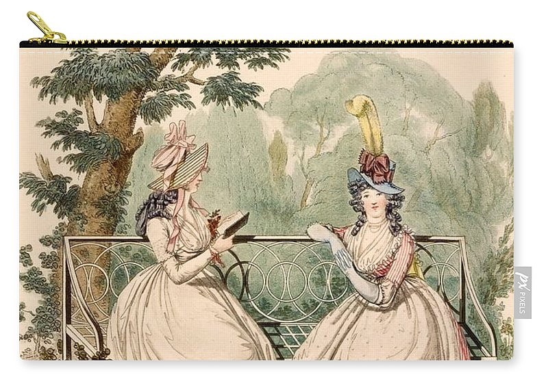 Fashion Carry-all Pouch featuring the drawing Fashion Plate Of Ladies In Summer Day by French School