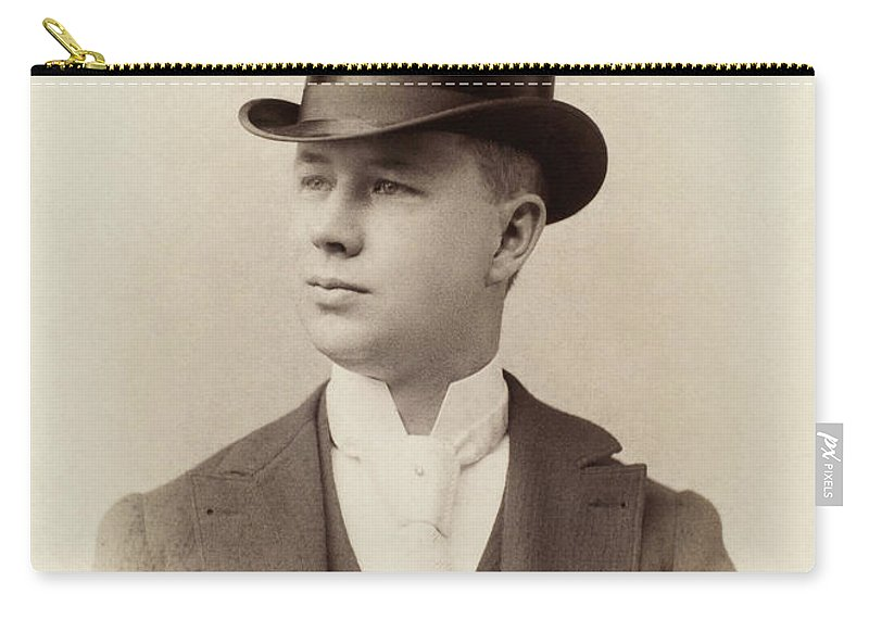 1880 Carry-all Pouch featuring the photograph Fashion Top Hat, C1880 by Granger