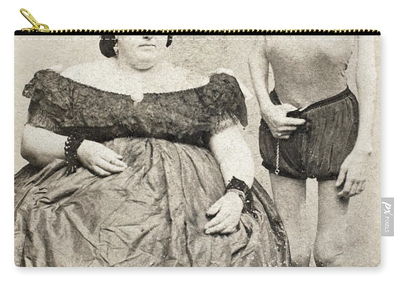 19th Century Carry-all Pouch featuring the photograph Fat Lady & Thin Man by Granger