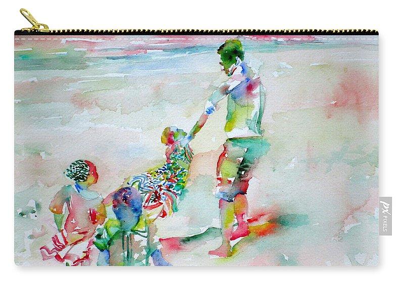 Father Carry-all Pouch featuring the painting Father And Children by Fabrizio Cassetta