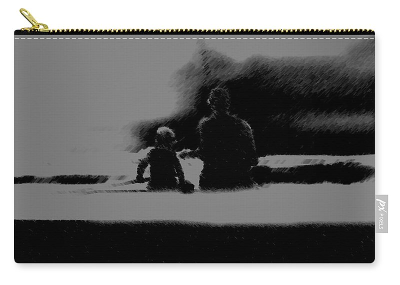 Father Carry-all Pouch featuring the painting Father And Son Enjoying The Day by George Pedro