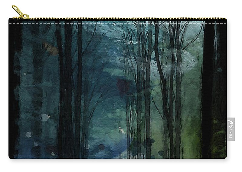 Nature Landscape Wood Forest Trees Cold Green Autumn Winter Path Dramatic Expressionism Surreal Color Colorful Sky Tree Grass Leaves Leaf Painting Oil Father Frost Carry-all Pouch featuring the painting Father Frost Is Coming by Steve K