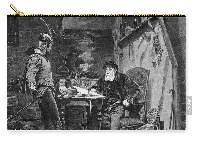 Alfred Carry-all Pouch featuring the photograph Faust And Mephistopheles by Granger